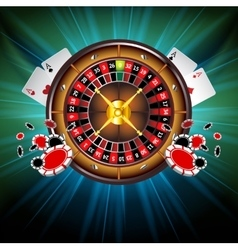 Casino Background with Roulette Wheel vector