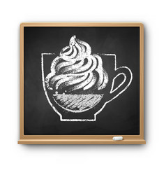 Chalkboard with chalked con panna coffee vector