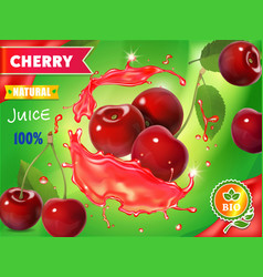 cherry fresh juice advertising realistic vector image