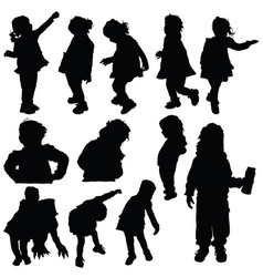 Children silhouette cute playing in black color vector