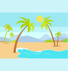 Coastline seaview poster tropical beach sea sand vector