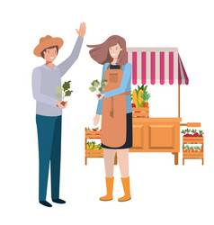 Couple in store kiosk with vegetables avatar vector