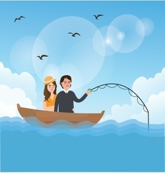 Couple man woman fishing on boat romance romantic vector