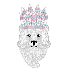Cute bear with mustache beard war bonnet vector