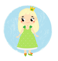Cute princess little baby girl in queen crown vector