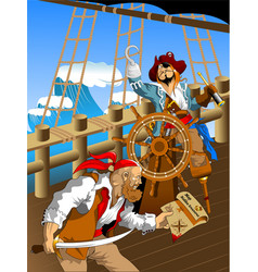 deck of a pirate ship vector image