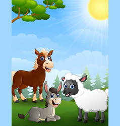 farm animals cartoon in the jungle vector image