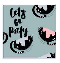 fat cute cat flat hand drawn card vector image