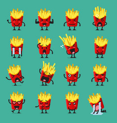 french fries character emoji set vector image