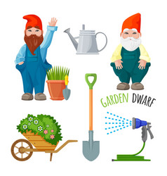 Garden dwarf working tools for gardening metal vector