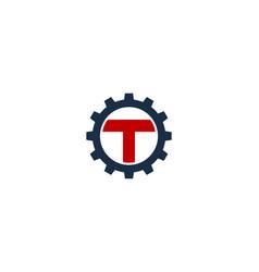 gear letter t logo icon design vector image