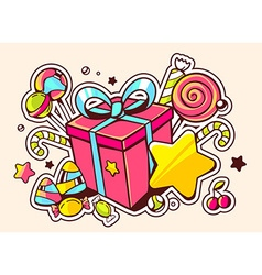 Gift box and confection on light backgro vector