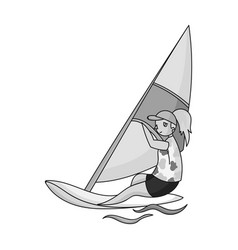 Girl in swimsuit on a sailing boatthe athlete vector