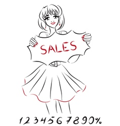 Girl shows board about sales and discounts vector image