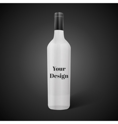 Glass black wine bottle vector image