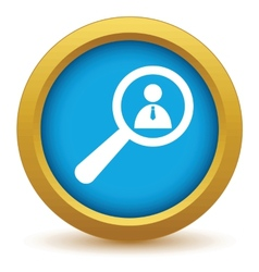 Gold search person icon vector