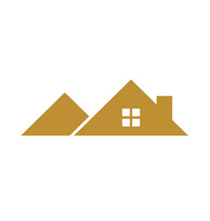 Golden mountain shaped house roof vector