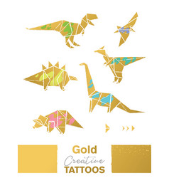 golden set with cartoon origami dinosaurs vector image