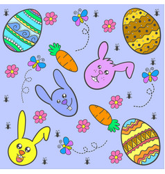 Happy easter style design of doodles vector