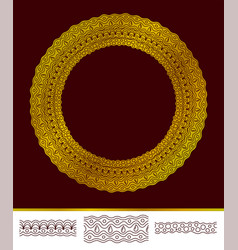 isolated golden round pattern and seamless brushes vector image