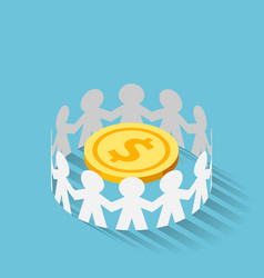 isometric paper people surrounded golden dollar vector image