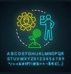 Lead-nurturing workflows neon light icon vector
