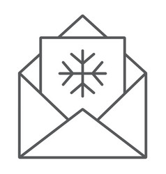 letter to santa thin line icon envelope vector image