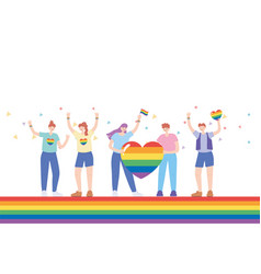 Lgbtq community people with clothes and flags vector