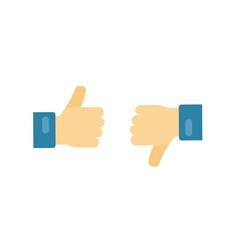 like or dislike icons flat cartoon hands vector image