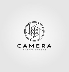 Line art camera lens logo with pines symbol vector