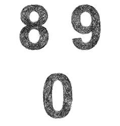 Line art font set - numbers 8 9 0 vector