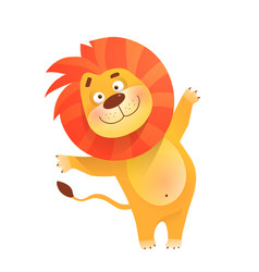 Lion greeting cute and funny animal kids cartoon vector