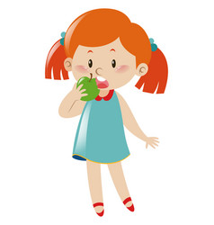 Little girl eating green apple vector