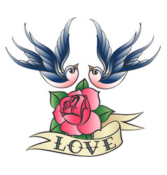 Love tattoo with swallows and rose vector