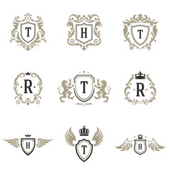 Luxury monogram logos templates objects set vector