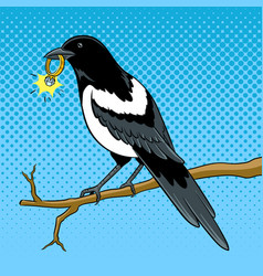 magpie bird with golden ring pop art vector image