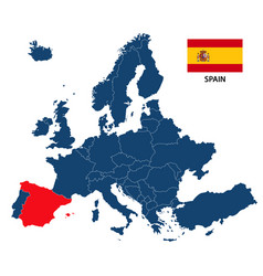 Map of europe with highlighted spain vector