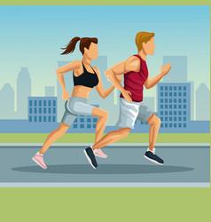 Marathon in the city cartoon vector