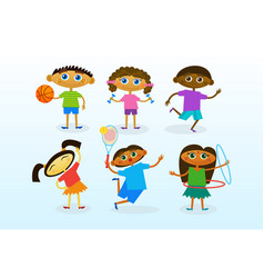 Mix race kids group cheerful diverse children vector