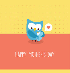 Mothers day card mama owl and baby vector