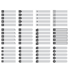 Numbered list template design vector