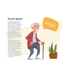 old man with a cane and a bubble for text vector image