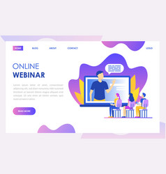 online webinar concept landing web page template vector image