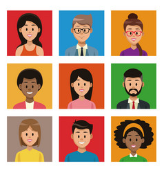 People cartoon on colorful squares vector