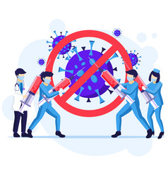 People fight virus concept doctor and nurses vector