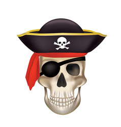 Pirate skull with black hat vector