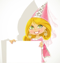 Pretty princess holding a blank banner vector