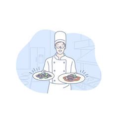 restaurant cooking dish presentation concept vector image