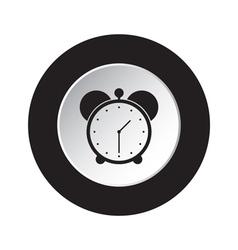 Round black and white button - alarm clock icon vector