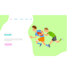 rugteam playing aggressive sports website text vector image
